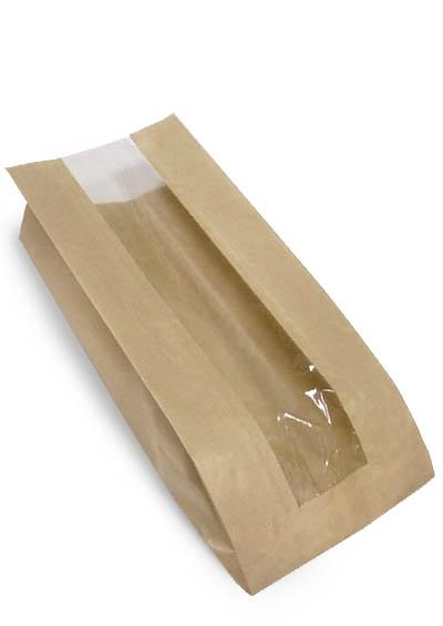 Крафт-пакет с прозрачным окном 12 см ширина x6 см складка x30 см высота